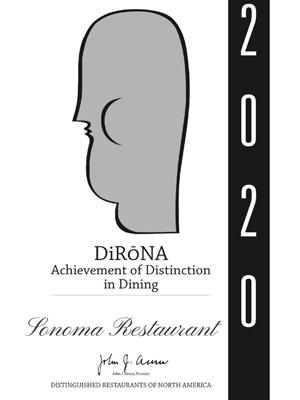 Sonoma 2020 DiRoNA Awarded Restaurant
